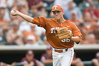 Texas Longhorns pitcher Nathan Thornhill #36 throws the ball to first base against the Texas A&M Aggies in NCAA Big XII Conference baseball on May 21, 2011 at Disch Falk Field in Austin, Texas. (Photo by Andrew Woolley / Four Seam Images)
