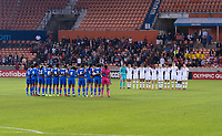 HOUSTON, TX - JANUARY 28: The USWNT and Panama observe a moment of silence for Kobe Bryant and his daughter, Gianna during a game between Haiti and USWNT at BBVA Stadium on January 28, 2020 in Houston, Texas.