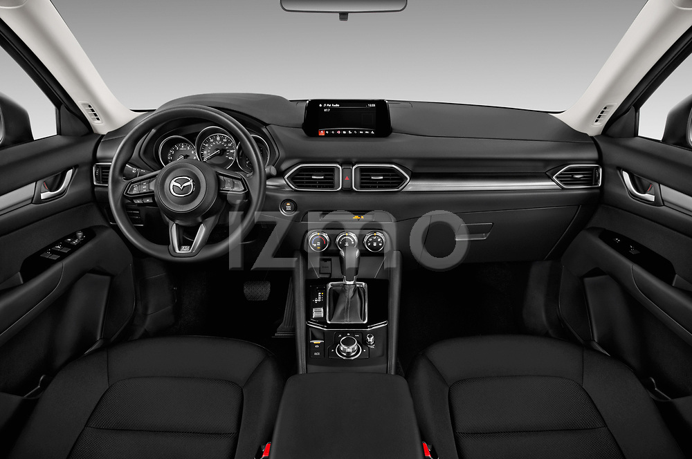 Stock photo of straight dashboard view of a 2018 Mazda CX-5 Sport 5 Door SUV