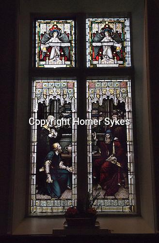 Mary Mallatratt Hot Cross Bun Legacy. Mary Mallatratt window in the Unitarian church, showing the Parabel of THE Talents. Mansfield Nottinghamshire.