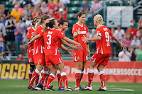 Caroline Seger (9) of the Western New York Flash celebrates scoring with teammates during the penalty kick shootout. The Western New York Flash defeated the Philadelphia Independence 5-4 in a penalty kick shootout after playing to a 1-1 tie during the Women's Professional Soccer (WPS) Championship presented by Citi at Sahlen's Stadium in Rochester NY, on August 27, 2011.