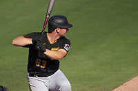 Pittsburgh Pirates Andrew Susac (63) bats during a Major League Spring Training game against the Baltimore Orioles on February 28, 2021 at Ed Smith Stadium in Sarasota, Florida.  (Mike Janes/Four Seam Images)