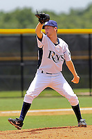 Brandon Henderson (3) Pitcher for the GCL Rays delivers a pitch during a game against the GCL Twins on July 16th, 2010 at Charlotte Sports Park in Port Charlotte Florida. The GCL Rays are the the Gulf Coast Rookie League affiliate of the Tampa Bay Rays. Henderson was selected by the Rays in the 15th round (461 overall) in the 2010 MLB First Year Player Draft. Photo by: Mark LoMoglio/Four Seam Images
