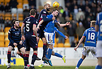 St Johnstone v Ross County…..29.12.19   McDiarmid Park   SPFL<br />Liam Fontaine gets above Chris Kane<br />Picture by Graeme Hart.<br />Copyright Perthshire Picture Agency<br />Tel: 01738 623350  Mobile: 07990 594431