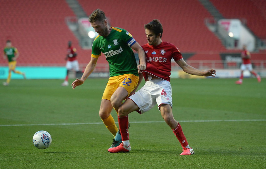 Preston North End's Paul Gallagher battles with Bristol City's Adam Nagy<br /> <br /> Photographer Ian Cook/CameraSport<br /> <br /> The EFL Sky Bet Championship - Bristol City v Preston North End - Wednesday July 22nd 2020 - Ashton Gate Stadium - Bristol <br /> <br /> World Copyright © 2020 CameraSport. All rights reserved. 43 Linden Ave. Countesthorpe. Leicester. England. LE8 5PG - Tel: +44 (0) 116 277 4147 - admin@camerasport.com - www.camerasport.com