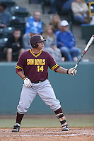 R.J. Ybarra #14 of the Arizona State Sun Devils bats against the UCLA Bruins at Jackie Robinson Stadium on March 28, 2014 in Los Angeles, California. UCLA defeated Arizona State 7-3. (Larry Goren/Four Seam Images)