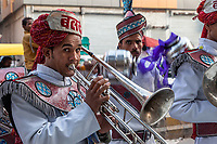 New Delhi, India.  Musicians Playing for a Wedding Reception.