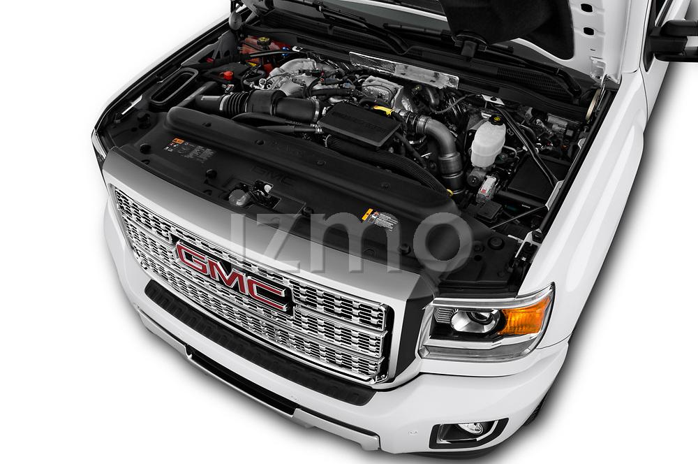 Car stock 2019 GMC Sierra 2500 Denali 4 Door Pick Up engine high angle detail view