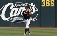 Nebraska outfielder Joe Acker (5) forces an out, Monday, June 7, 2021 in the fourth inning of the NCAA Fayetteville Regional at Baum-Walker Stadium in Fayetteville. Check out nwaonline.com/210608Daily/ for today's photo gallery. <br /> (NWA Democrat-Gazette/Charlie Kaijo)