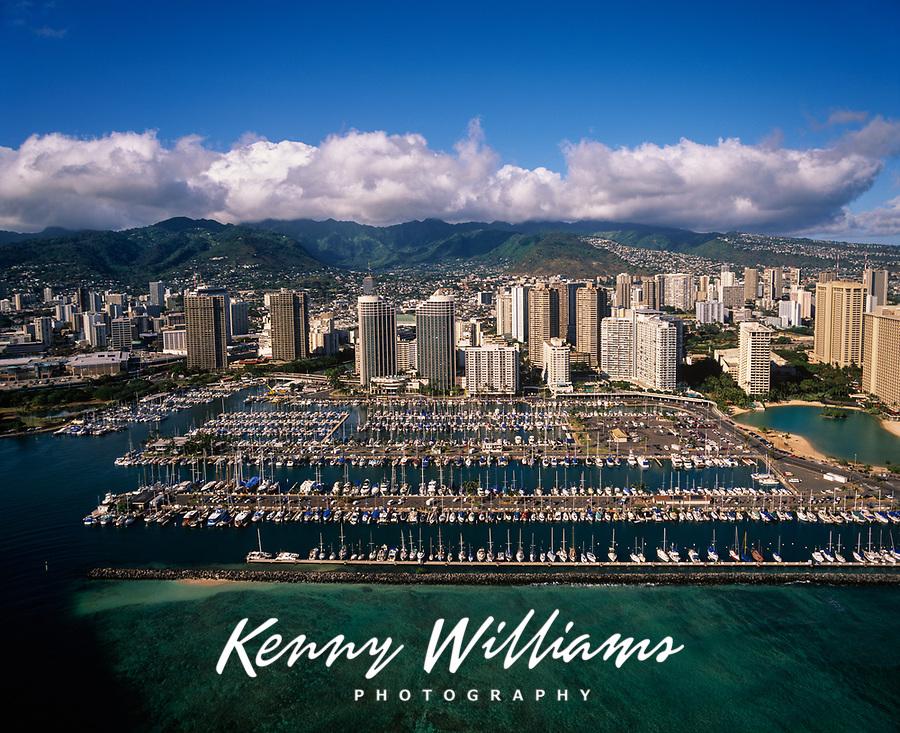 Ala Wai Yacht Harbor, Waikiki, Honolulu, Aerial View, Oahu, Hawaii, USA.