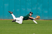 Center fielder Jake Hennessy (1) of the University of South Carolina Upstate Spartans Green team lunges for a fly ball in the Green and Black Fall World Series Game 2 on Saturday, October 31, 2020, at Cleveland S. Harley Park in Spartanburg, South Carolina. Green won, 6-5. (Tom Priddy/Four Seam Images)