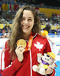 Toronto, Ontario, August 12, 2015. Aurelie Rivard  wins gold at  the swimming during the 2015 Parapan Am Games . Photo Scott Grant/Canadian Paralympic Committee