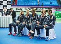 Moskou, Russia, Februari 4, 2016,  Fed Cup Russia-Netherlands,  Draw Ceremony, Dutch team<br /> Photo: Tennisimages/Henk Koster
