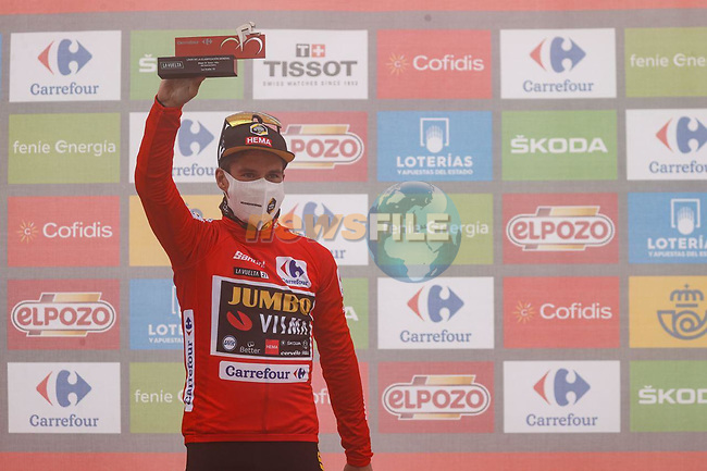 Primoz Roglic (SLO) Jumbo-Visma retains the leaders Red Jersey at the end of Stage 18 of La Vuelta d'Espana 2021, running 162.6km from Salas to Alto del Gamoniteiru, Spain. 2nd September 2021.    <br /> Picture: Luis Angel Gomez/Photogomezsport | Cyclefile<br /> <br /> All photos usage must carry mandatory copyright credit (© Cyclefile | Luis Angel Gomez/Photogomezsport)