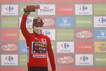 Primoz Roglic (SLO) Jumbo-Visma retains the leaders Red Jersey at the end of Stage 18 of La Vuelta d'Espana 2021, running 162.6km from Salas to Alto del Gamoniteiru, Spain. 2nd September 2021.    <br /> Picture: Luis Angel Gomez/Photogomezsport   Cyclefile<br /> <br /> All photos usage must carry mandatory copyright credit (© Cyclefile   Luis Angel Gomez/Photogomezsport)