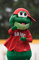 Mascot Reedy Rip'It of the Greenville Drive in a game against the Charleston RiverDogs on Friday, July 28, 2017, at Fluor Field at the West End in Greenville, South Carolina. Charleston won, 6-1. (Tom Priddy/Four Seam Images)