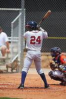 GCL Braves outfielder Ronald Acuna (24) at bat during a game against the GCL Astros on July 23, 2015 at the Osceola County Stadium Complex in Kissimmee, Florida.  GCL Braves defeated GCL Astros 4-2.  (Mike Janes/Four Seam Images)