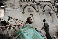 Mogadishu/Somalia 2012 - IDP Militias have set up a camp outside of the Cathedral.