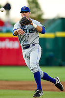 James Cesario (9) of the Tulsa Drillers throws a ball to first during a game against the Springfield Cardinals on April 29, 2011 at Hammons Field in Springfield, Missouri.  Photo By David Welker/Four Seam Images.