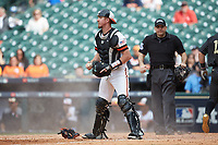Sam Houston State Bearkats catcher Jordan Cannon (25) on defense against the Vanderbilt Commodores in game one of the 2018 Shriners Hospitals for Children College Classic at Minute Maid Park on March 2, 2018 in Houston, Texas. The Bearkats walked-off the Commodores 7-6 in 10 innings.   (Brian Westerholt/Four Seam Images)