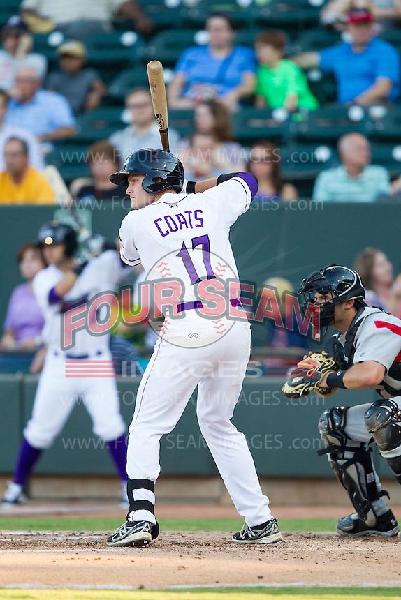 Jason Coats (17) of the Winston-Salem Dash at bat against the Carolina Mudcats at BB&T Ballpark on June 6, 2014 in Winston-Salem, North Carolina.  The Mudcats defeated the Dash 3-1.  (Brian Westerholt/Four Seam Images)