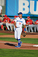 Luis Paz (13) of the Ogden Raptors during the game against the Orem Owlz in Pioneer League action at Lindquist Field on June 21, 2017 in Ogden, Utah. The Owlz defeated the Raptors 16-5. This was Opening Night at home for the Raptors.  (Stephen Smith/Four Seam Images)