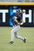 Lorenzo Hampton Jr. (25) of the California Golden Bears makes a throw from right field during fielding practice prior to the game against the Duke Blue Devils at Durham Bulls Athletic Park on February 20, 2016 in Durham, North Carolina.  The Blue Devils defeated the Golden Bears 6-5 in 10 innings.  (Brian Westerholt/Four Seam Images)