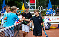 Hilversum, Netherlands, Juli 31, 2019, Tulip Tennis center, National Junior Tennis Championships 12 and 14 years, NJK, Boys Doubles: Tygo Bikker (NED) (R) and Raul Clarijs (NED) (R)  vs Jerome Biesheuvel (NED) and Joris Clermonts (NED)<br /> Photo: Tennisimages/Henk Koster