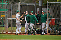 Dartmouth Big Green Oliver Campbell (27) high fives teammates during a game against the Indiana State Sycamores on February 21, 2020 at North Charlotte Regional Park in Port Charlotte, Florida.  Indiana State defeated Dartmouth 1-0.  (Mike Janes/Four Seam Images)