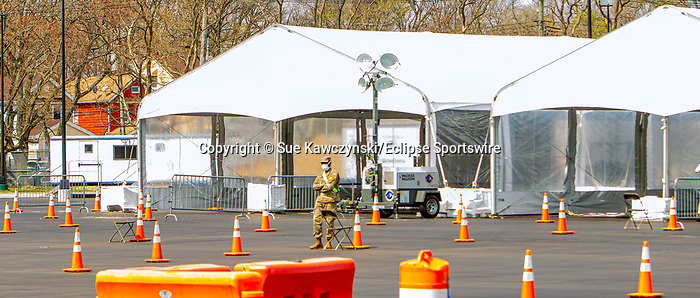 APRIL 07, 2020: National Guardsman at exit at COVID 19 testing area at Aqueduct Racecourse in Ozone Park, NY.  Sue Kawczynski/Eclipse Sportswire/CSM