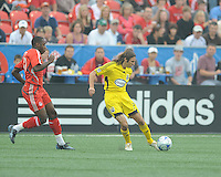 Frankie Hejduk (2) and Rohan Ricketts (10) in action at BMO Field where the Toronto FC played hosts to the Columbus Crew on Saturday September 13, 2008. .The game ended in a 1-1 draw.