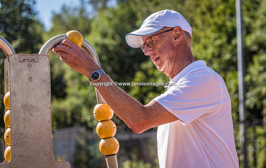 Hilversum, The Netherlands,  August 21, 2020,  Tulip Tennis Center, NKS, National Senior Tennis Championships, Men's single 65+, Martin Koek (NED)<br /> Photo: Tennisimages/Henk Koster