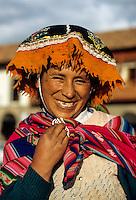 Peru, Cusco.  Smiling Quechua Woman.