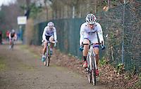 Katie Compton (USA) leading over Marianne Vos (NLD)<br /> <br /> UCI Worldcup Heusden-Zolder Limburg 2013