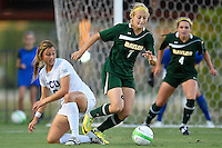 Baylor midfielder Alexa Wilde (7) steals the ball from TCU midfielder Lauren Sajewich during first half of NCAA soccer game, Friday, October 03, 2014 in Waco, Tex. TCU draw 1-1 against Baylor in double overtime. (Mo Khursheed/TFV Media via AP Images)