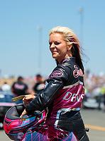Jul 28, 2019; Sonoma, CA, USA; NHRA pro stock motorcycle rider Angie Smith during the Sonoma Nationals at Sonoma Raceway. Mandatory Credit: Mark J. Rebilas-USA TODAY Sports