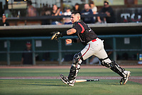 Gilberto Vizcarra  (24) of the Lake Elsinore Storm in the field during a game against the Inland Empire 66ers at San Manuel Stadium on July 25, 2021 in San Bernardino, California. (Larry Goren/Four Seam Images)