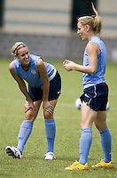 USA forward Kristine Lilly talks to teammate Leslie Osborne during practice at Shenhua FC in Shanghai, China, on September 25, 2007.