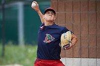 Lowell Spinners pitcher Tanner Houck (50) throws in the bullpen before a game against the Batavia Muckdogs on July 12, 2017 at Dwyer Stadium in Batavia, New York.  Batavia defeated Lowell 7-2.  (Mike Janes/Four Seam Images)