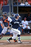 Hunter Mercado-Hood (6) of the University of San Diego Toreros bats against the Cal State Fullerton Titans at Goodwin Field on April 5, 2016 in Fullerton, California. Cal State Fullerton defeated University of San Diego, 4-2. (Larry Goren/Four Seam Images)