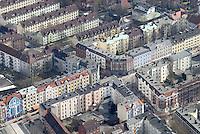 4415/Wilhelmsburg: EUROPA, DEUTSCHLAND, HAMBURG 22.03.2006  Wohnhaeuser in Hamburg Wilhelmsburg, Veringestrasse , Faehrstrasse, Wohnen, Wohnungen, Mehrfamilienhaus, Flaechenbedarf, Hinterhof, Innenhof, .Luftbild, Luftansicht