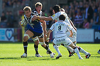 Simon Taylor of Bath Rugby charges upfield during the Aviva Premiership match between Bath Rugby and Sale Sharks at the Recreation Ground on Saturday 29th September 2012 (Photo by Rob Munro)