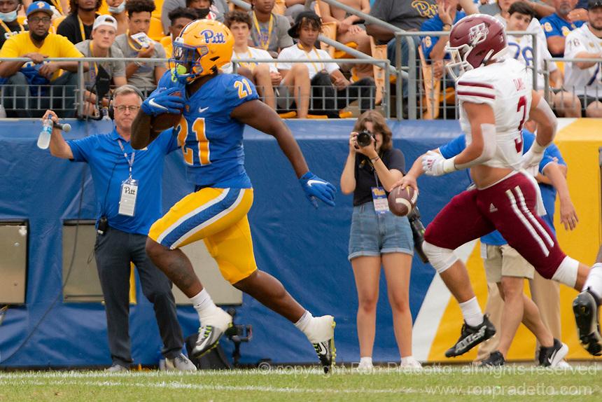 Pitt running back AJ Davis scores on a 18-yard touchdown run. The Pitt Panthers defeated the UMass Minutemen 51-7 on September 4, 2021 at Heinz Field, Pittsburgh, PA.