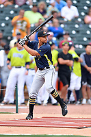 Trae Arbet of the West Virginia Power swings at a pitch during the home run derby as part of the All Star Game festivities at Spirit Communications Park on June 19, 2017 in Columbia, South Carolina. The Soldiers defeated the Celebrities 1-0. (Tony Farlow/Four Seam Images)
