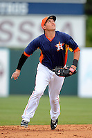Houston Astros third baseman Brandon Laird #4 during a Spring Training game against the St. Louis Cardinals at Osceola County Stadium on March 1, 2013 in Kissimmee, Florida.  The game ended in a tie at 8-8.  (Mike Janes/Four Seam Images)