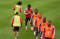 Pictured clockwise from FRONT LFT: Jefferson Montero, Bafetimbi Gomis, Wilfried Bony, Nathan Dyer, Wayne Routledge and Ashley Williams. Thursday 14 August 2014<br />