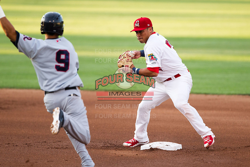 Kolten Wong (4) of the Springfield Cardinals turns a double play during a game against the Arkansas Travelers at Hammons Field on June 13, 2012 in Springfield, Missouri. (David Welker/Four Seam Images)