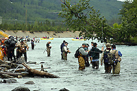 Fly Fishing at the confluence of the Kenai and Russian Rivers, Kenai Peninsula, Chugach National Forest, Alaska.