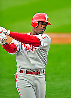 13 April 2009: Philadelphia Phillies' shortstop Jimmy Rollins takes a swing while on-deck during the Washington Nationals' Home Opener at Nationals Park in Washington, DC. The Nats fell short in their 9th inning rally, losing 9-8, as the visiting Phillies handed the Nats their 7th consecutive loss of the 2009 season. Mandatory Credit: Ed Wolfstein Photo