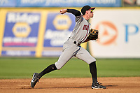 Quad Cities River Bandits shortstop Nick Loftin (2) throws to first base during a game against the South Bend Cubs on August 20, 2021 at Four Winds Field in South Bend, Indiana.  (Mike Janes/Four Seam Images)
